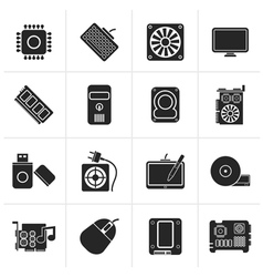 Black computer part icons vector