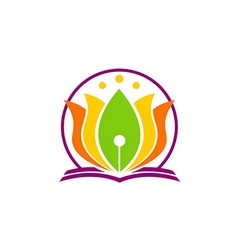book lotus flower yoga education logo vector image vector image