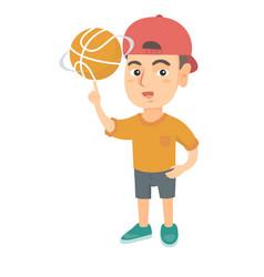 Caucasian boy spinning basketball ball on finger vector