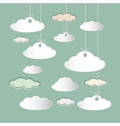 Clouds Hung on Strings on Retro Sky Background vector image vector image