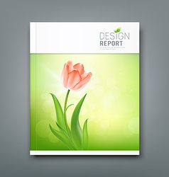 Cover Magazine Beautiful tulips nature backgroud vector image vector image