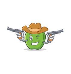 Cowboy green apple character cartoon vector