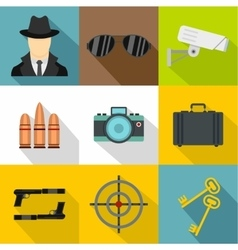 Detective icons set flat style vector