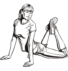 Girl doing stretching - vector