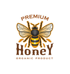 honey bee icon for organic product label vector image