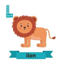 Lion L letter Cute children animal alphabet in vector image