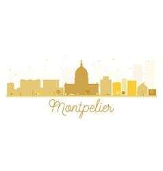 Montpelier city skyline golden silhouette vector