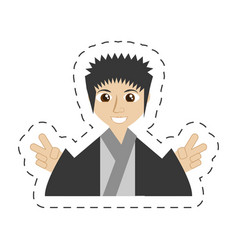 Portrait japanese man wearing traditional dress vector
