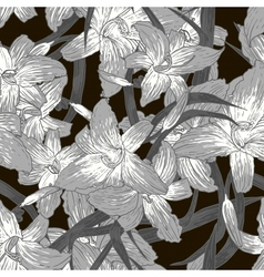 Seamless monochrome floral background with lilies vector image vector image
