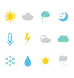 set collection of weather meteorology icons vector image