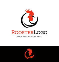 stylized rooster head logo vector image vector image