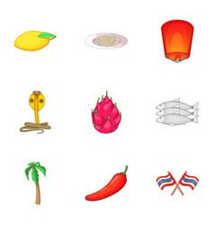 Thailand food icons set cartoon style vector