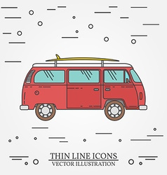 Travel bus family camper with surf board thin line vector image