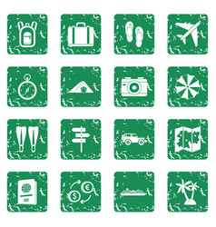 Travel icons set grunge vector