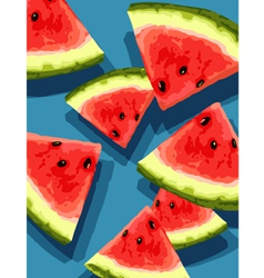 watermelon on blue vector image vector image