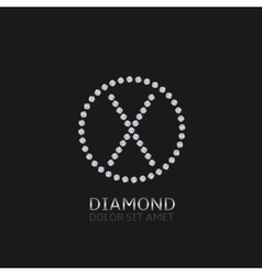 X letter with diamonds vector