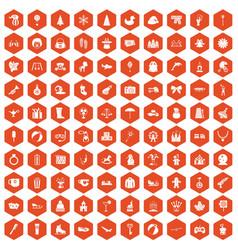 100 children icons hexagon orange vector image