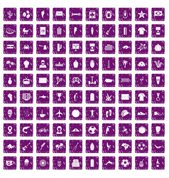 100 south america icons set grunge purple vector