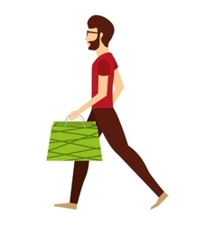 Avatar person with shopping bags vector