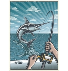 Vintage deep sea fishing poster vector
