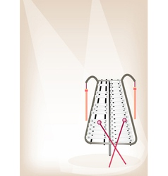 A musical bell lyra on brown stage background vector