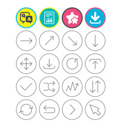 Arrow download refresh and fullscreen symbols vector