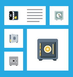 Flat icon strongbox set of saving banking coins vector