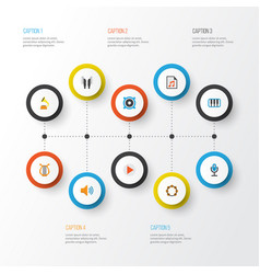 Music flat icons set collection of audio button vector