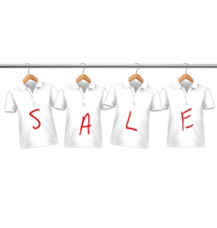 Shirts on sale hanging on hangers concept of vector