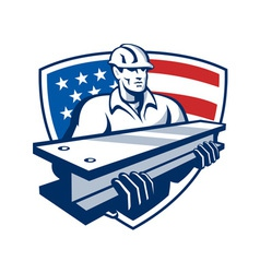 Construction steel worker i-beam american flag vector