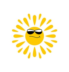 Sun logo with black glasses vector