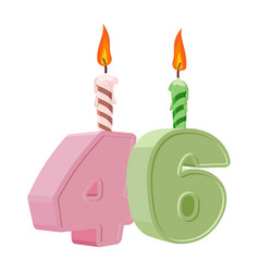 46 years birthday number with festive candle for vector
