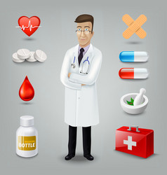 Doctor with medical object vector