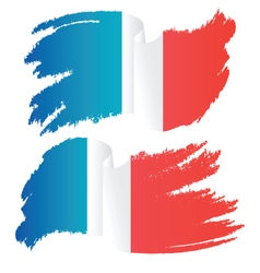 Waving brush stroke flag of france vector