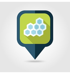Honeycomb bee flat pin map icon map pointer vector
