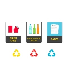 Stickers for recycling trash bins vector