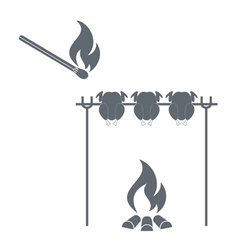 Grilled chicken and match icon vector
