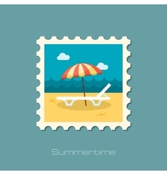 Beach chaise lounge with umbrella stamp vacation vector