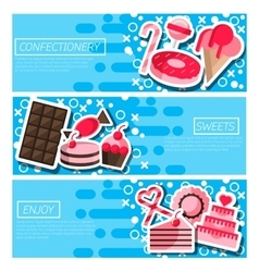 Set of horizontal banners about confectionery vector