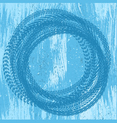 Blue grunge tire track background vector