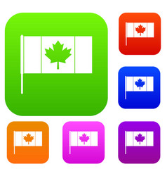 Canada flag with flagpole set color collection vector