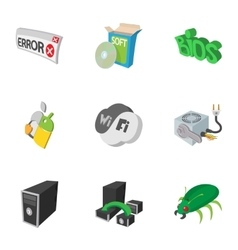 Computer maintenance icons set cartoon style vector image