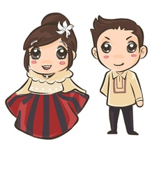 Couple wearing philippines traditional costume vector