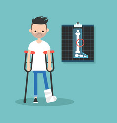 Disabled bearded man on crutches with broken leg vector