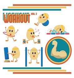 Eggs Cartoon in Workout Activities vector image
