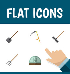 Flat icon farm set of shovel cutter hothouse and vector