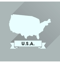 Flat Icon With Long Shadow United States Map Vector Image - Us map flat