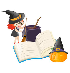 girl dressed as witch with other elements vector image