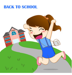Girl feeling happy to going back to school vector