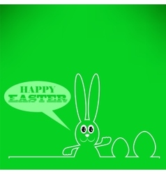 Greeting Card with White Easter Rabbit vector image
